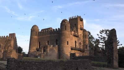Gondar Fasil Ghebbi, castle wide shot in the warm evening light