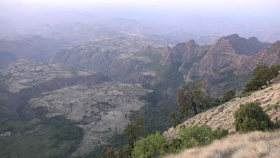 View from a cliff in the Simien mountains