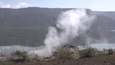 Hot springs, Lake Bogota, medium wide UHD 4K