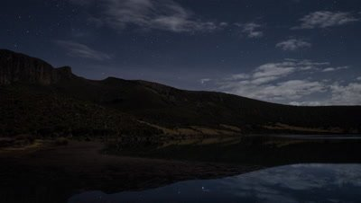 Night time lapse on Lake Alice with moving clouds and stars, 4K
