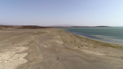 Lake Turkana move over shoreline with man walking and goat herd, 4k Aerial