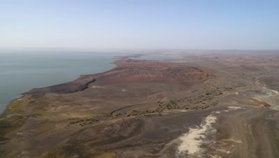 Lake Turkana high view and slow move backwards, 4k Aerial