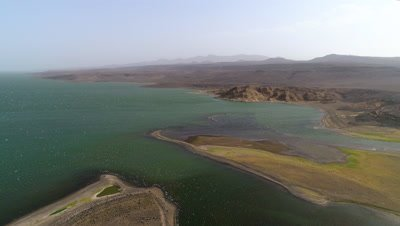 Lake Turkana sideways move over shoreline, 4k Aerial