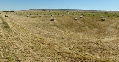 Aerial - farming - hay barrels