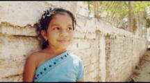 Slow Motion Portrait Of Mexican Girl. Smiling, Shy. Cute, Sweet. Shot In Mexico.
