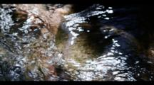 Fresh Clean Water, River Flow, Close Up. Slow Motion.