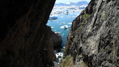 Steep coast line at the Ilulissat ice fjord,drifting glacial ice,Unesco world heritage site