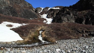 Arctic hot spring,the creek surroundet by villov ends up un the bay