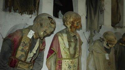 Mummyfied priests in the caputine catacomb i Palermo