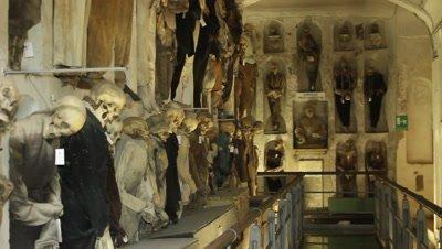 Mummies in the priests corridor in the caputine catacomb,Palermo
