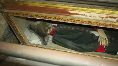 Mummy in the caputine catacomb in Sicily,probably an officer in his uniform,resting in a shest