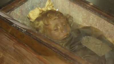 """The sleeping Beauty"",a mummyfied little girl in the caputine catacomb"