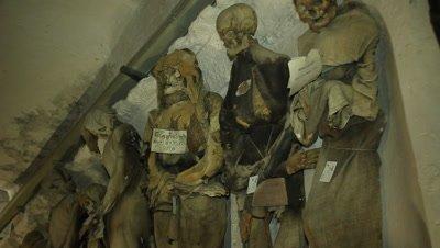 Mummies resting standing in the caputine catacomb