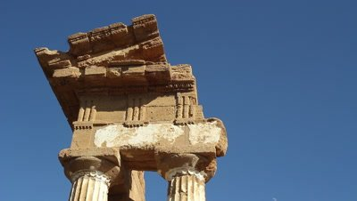 Ditail of the temple of Castor and Pollux,valley of the temples,world heritage site