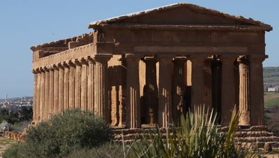Temple of Concord,columns,city of Agrigento,in The Vally of the temples,Unesco World heritage site,viev to the ocean