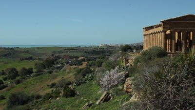 The viev from Temple of Concord,city of Agrigento,in The Vally of the temples,Unesco World heritage site,viev to the ocean