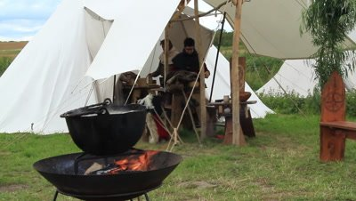 Vikings,trading people,event takin place at Trelleborg ring castle,Denmark