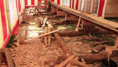 the keel and the two first planks of the reconstruction of the Ladby vikingship