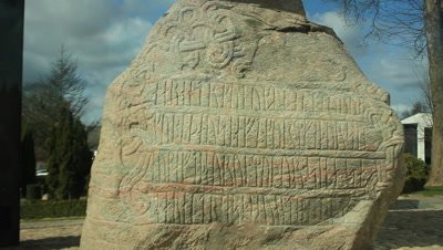 King Harald Bluetooth runestone vith the runic inscription