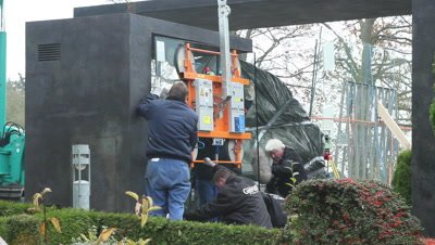Jelling stones being glass cased to protect the stones against CO2
