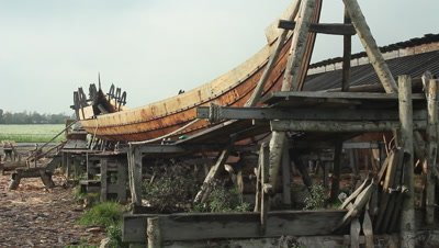 The unfinished pricise copy of the Ladby vikingship.