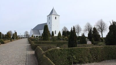 The Tapdrup church,pilgrim church holding the golden reliefs showing king Harald Bluetooths baptism