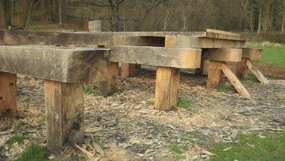 The Ravning bridge,oak bridge in the Vejle Rive Valley
