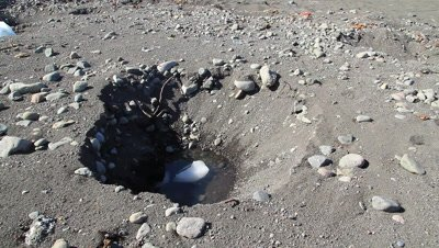 sink holes in volcanic sand caused by melting glacial ice during the spring