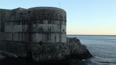 Fort Bokar is the key point in the defensive stone walls surrounding the city-state of Dubrovnik (Ragusa) in Croatia