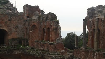 The ancient Greek theatre of Taormina,built in the seventh century BC