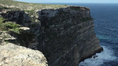 The limestone rocks at the northern coast of Lampedusa island