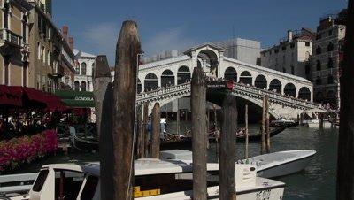 the Rialto bridge and moorings in the Grand channel in Venice