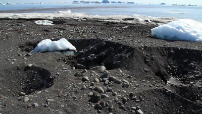 Sink holes in black volcanic sand,saused by glacial ice melting during the spring