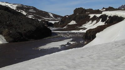 Melting glacial ice in the spring,due to the global warming more glacial ice are melting