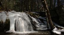 Time Lapse Waterfall In Icy Forest