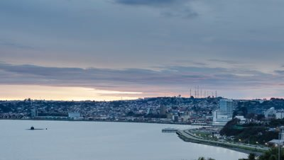Winter Sunset Time Lapse at Puerto Montt City Bay