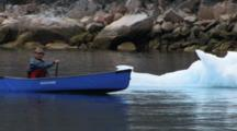 Canoeing On Ocean Past Ice Chunks, Near Qikitarjuaq, Baffin Island