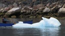 Canoeing Past Ice On Ocean, Near Qikitarjuaq, Baffin Island
