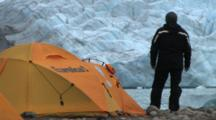 Camping With Glacier In Background, Coronation Fiord, Auyuittuq National Park, Baffin Island