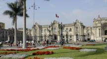 Lima Peru Presidential Palace At The Main Square In The Center City South America