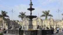 Lima Peru Fountain In Front Of The Presidential Palace Of Justice San Martin Government Square Garden Capital City South America