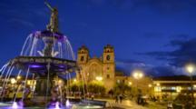 Cusco Cuzco Peru Beautiful Colorful Night Exposure Of Flowing Water From Fountain In Main Square In Center Of Peru South America