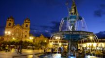 Cusco Cuzco Peru Beautiful Colorful Night Exposure Of Flowing Water From Fountain In Main Square In Center Of South America