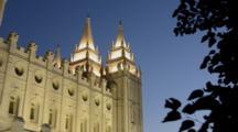 Night Exposure Of The Famous Morman Temple In Salt Lake City Utah In Western USA