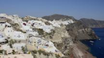 Beautiful Village Of Oia With White Old Buildings Looking Down In Santorini In Greek Islands In Greece Europe