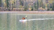 Kayaking On Beaver Lake Near Whitefish, Montana, USA