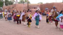 Ohkay Owingeh, New Mexico, United States. Native American Perform Ceremonial Dance For Feast Day Celebration