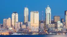 WA, Seattle, Skyline From West Seattle (Still Image Pan)