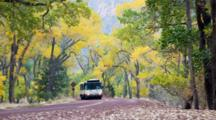 UT, Zion National Park, Zion Canyon, Shuttle Bus On The Zion Canyon Road, Propane Powered (Still Image Zoom)