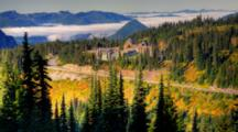 WA, Mt. Rainier National Park, View Of Paradise Valley With Paradise Inn (Still Image Zoom)